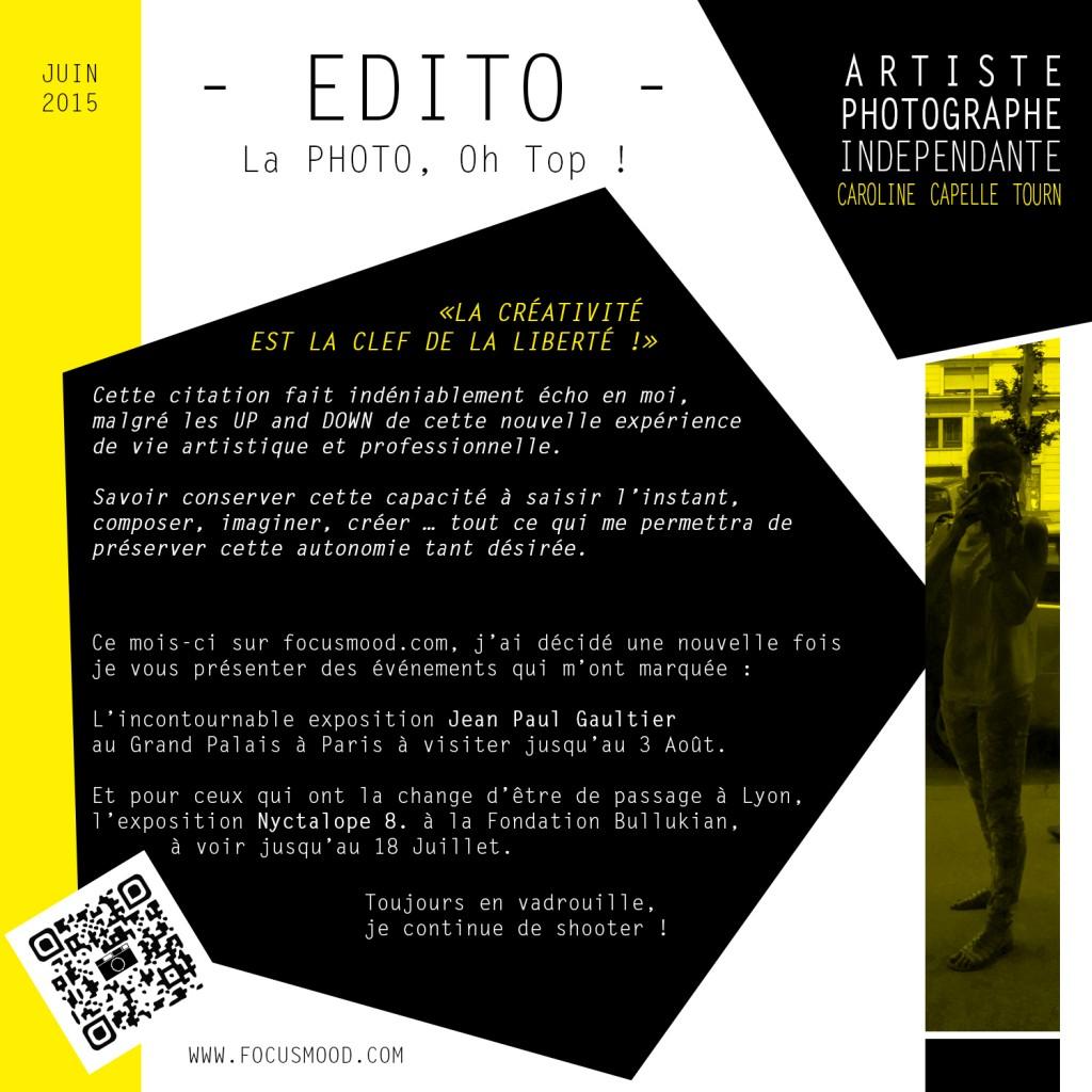 EDITO JUIN 2015 - CA CREATIVITE EST LA CLEF DE LA LIBERTE