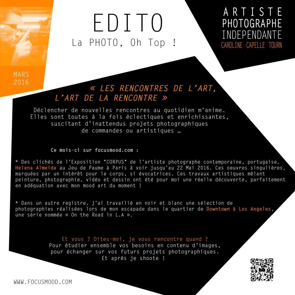 EDITO MARS 2016 - LES RENCONTRES DE L'ART, L'ART DE LA RENCONTRE